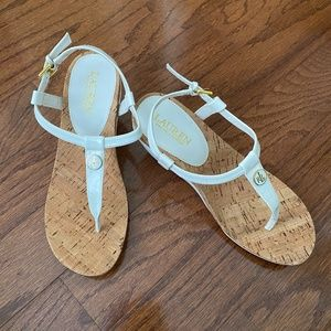 Ralph Lauren Reeta White Sndals, Size 8,5